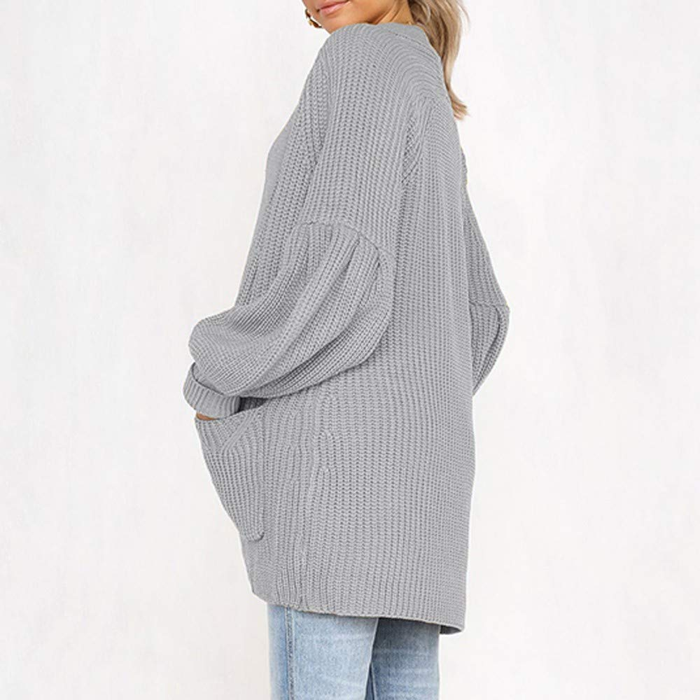 GIFC Plus Size Womens Solid Long Sleeve Fashion Ladies Pocket Cardigan Tops Sweater Coat Blouses by GIFC (Image #3)
