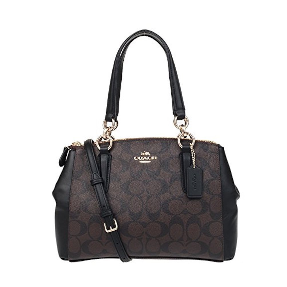 Coach F58290 Signature PVC Mini Christie Carryall Satchel Brown/Black