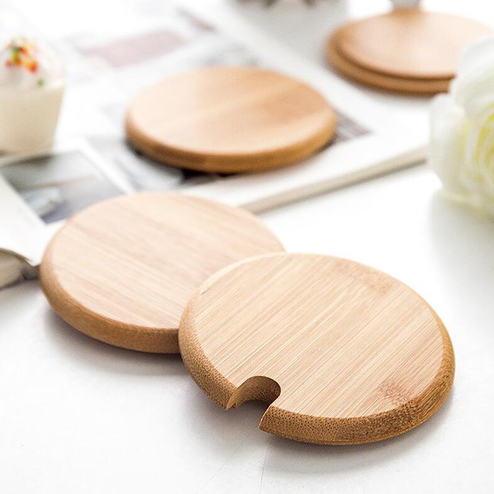 Dedoot 12PCS Wood Lids for Mason Jars, Wooden Mug Cover, Glass Jar Wood Drink Cup Lid with Spoon Hole (φ2.6IN) by Dedoot (Image #4)