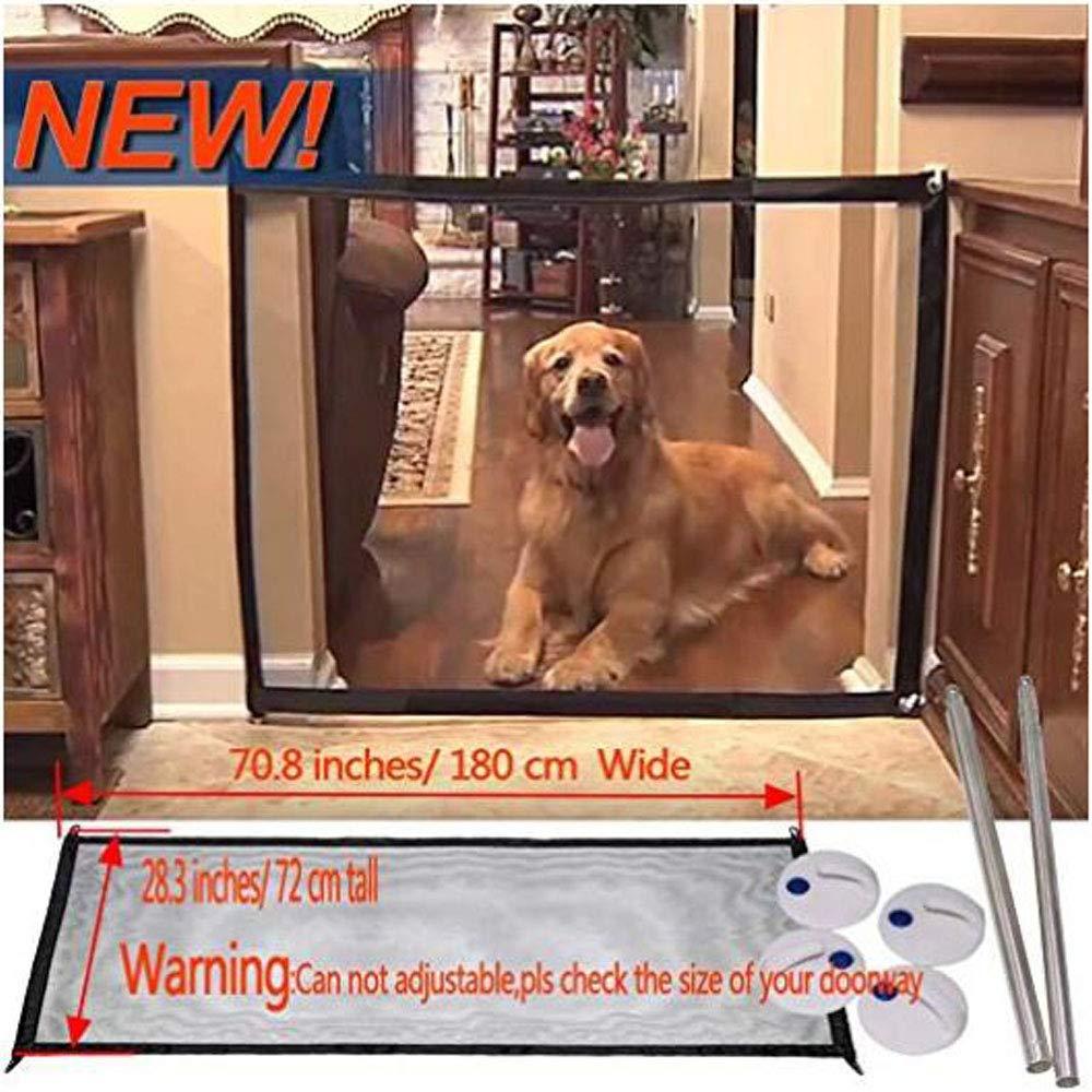 Dog Gate Magic Mesh Portable Pet Dog Fence Safety Guard Folding Magic Gate for Pets Safe Enclosure Fence (72x28 Inch)