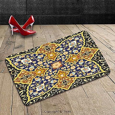 Custom Machine-washable Door Mat Arabian Decor Collection Detailed Arabic Islamic Floral Mosaic Patterns Eastern Antique Oriental Persian Artwork Multi Indoor/Outdoor Doormat Mat Rug - Mosaic Outdoor Rug