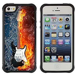 Lady Case@ Water and fire guitar Rugged Hybrid Armor Slim Protection Case Cover Shell For iphone 5S CASE Cover ,iphone 5 5S case,iphone5S plus cover ,Cases for iphone 5 5S