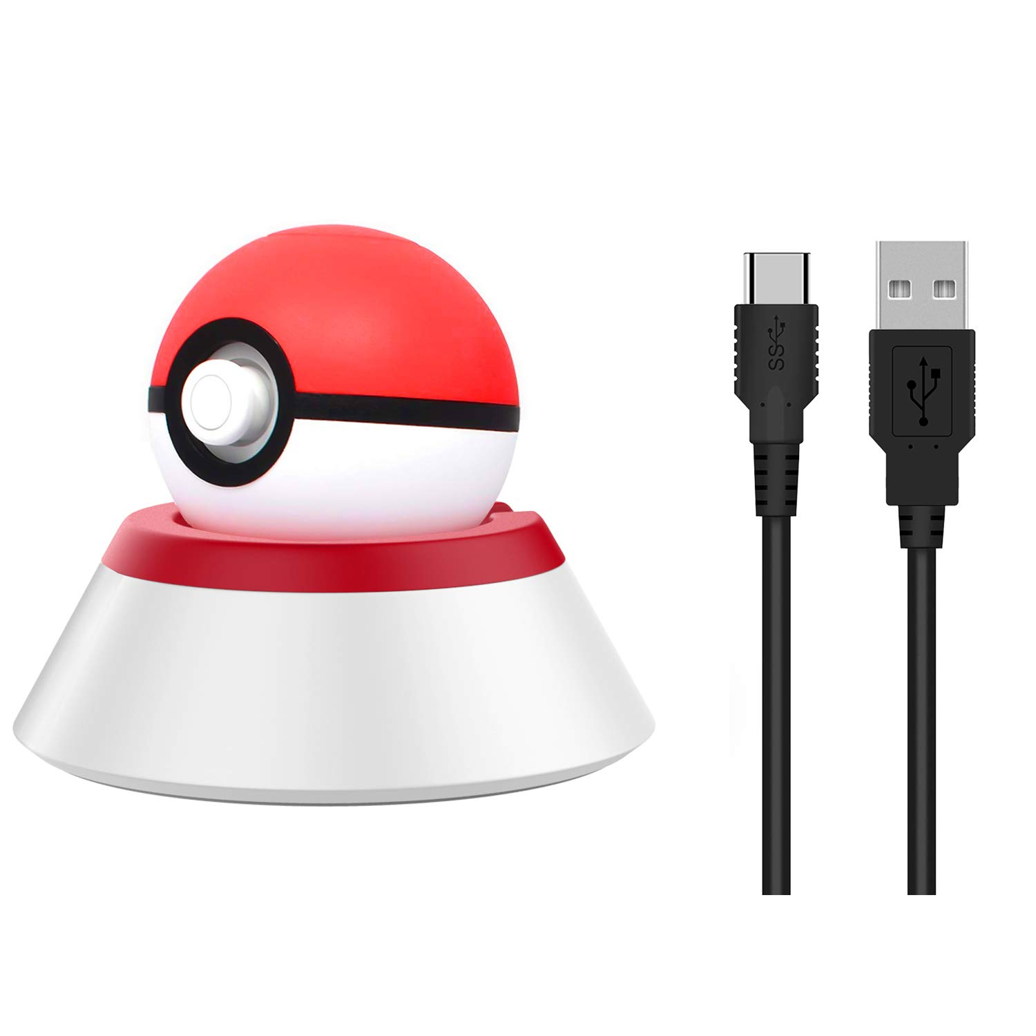 MoKo Charging Stand for Nintendo Switch Poke Ball Plus Controller, Charger Station Holder Charging Dock Mount with Charging Cable for Nintendo Switch Pokeball Plus Controller - Red + White by MoKo