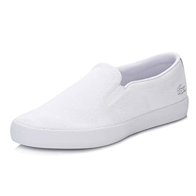 782a4dd51 Lacoste Womens White Gazon Slip On Trainers  Amazon.co.uk  Shoes   Bags