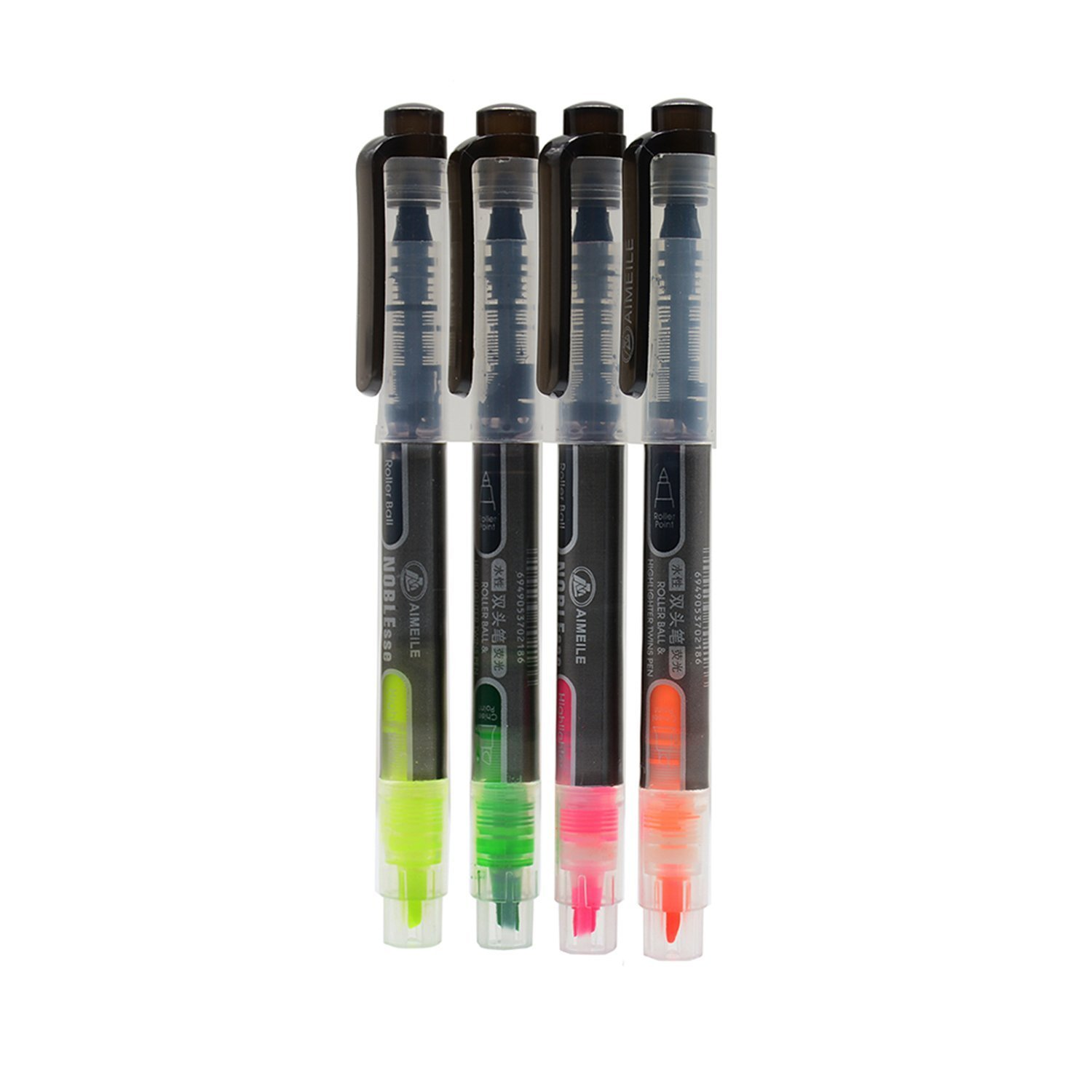 4 PCS Double-headed Multifunctional Pen included Roller Ball Pen and Highlighter 4 Colors