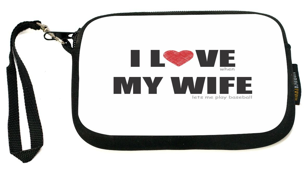 UKBK I Love my Wife - Baseball Humor Clutch Wristlet with Safety Closure