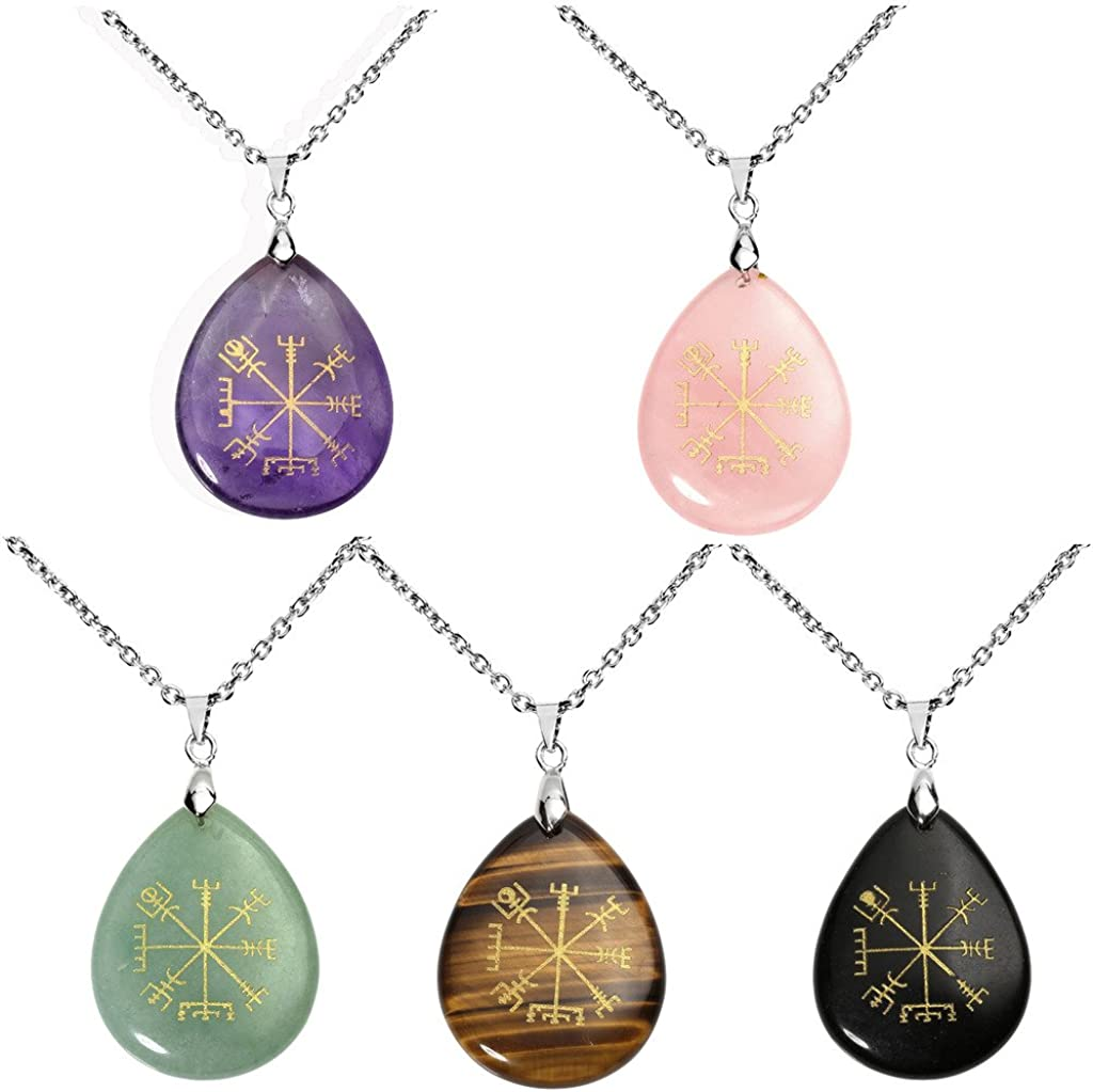 Jovivi Silver Plated Viking Compass Vegvisir Healing Stone Crystal Necklace Teardrop Gemstone Chakra Pendant Necklace 24""