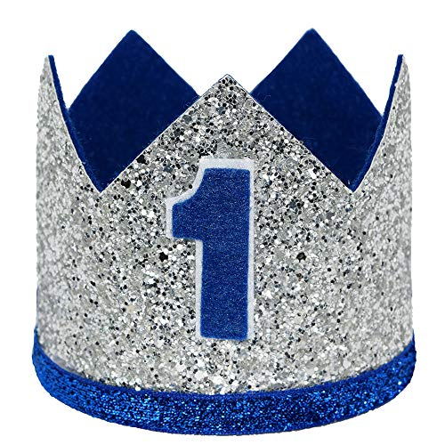Maticr Glitter Baby Boy First Birthday Crown Number 1 Headband Little Prince Princess Cake Smash Photo Prop (Large Silver Royal 1) -