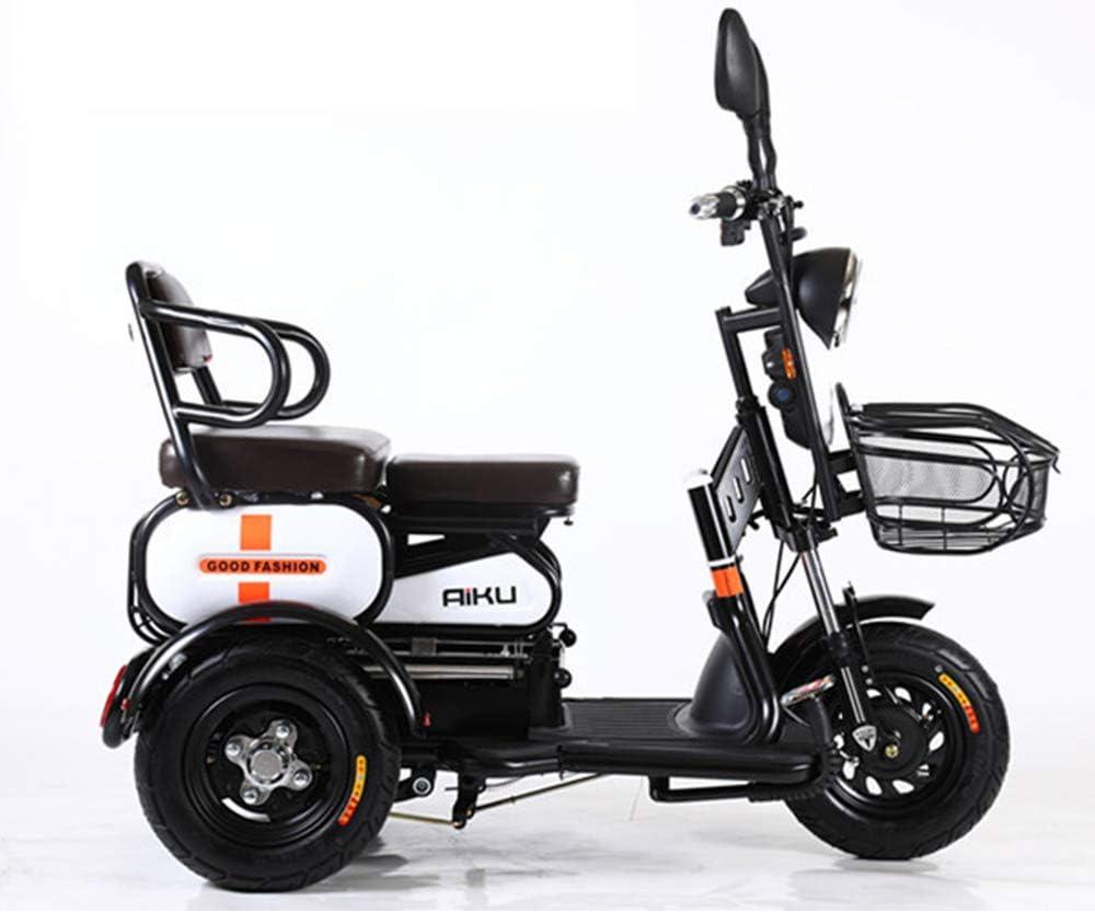 AA100 Bicicleta eléctrica de 3 Ruedas, Doble, Individual, Antigua, de Viaje al Aire Libre, Scooter móvil 48V20A batería de Litio + Alarma remota,White