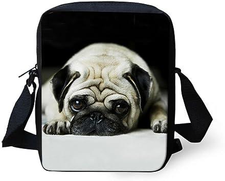 Pug Printed Kids Messenger Bag Boys Small Sling Cross Shoulder Bag