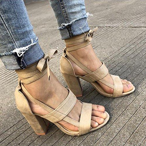 Kootk Toe Summer Sandales Chaussures pour Wrap Up à Cheville Peep Sandales Lace Femmes Beige Talons Hauts Tie Chaussures rrSHqnP