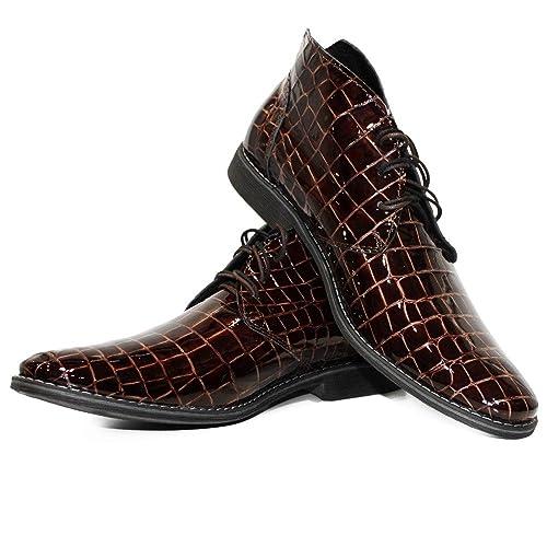Modello Bukko - Cuero Italiano Hecho A Mano Hombre Piel Borgoña Chukka Botas Botines - Cuero Cuero Repujado - Encaje: Amazon.es: Zapatos y complementos
