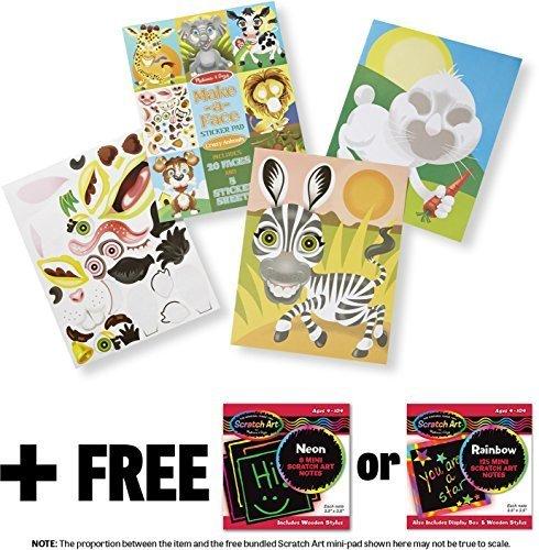 (Melissa & Doug Crazy Animals: Make-a-Face Sticker Pad + Free Scratch Art Mini-Pad Bundle [86059])