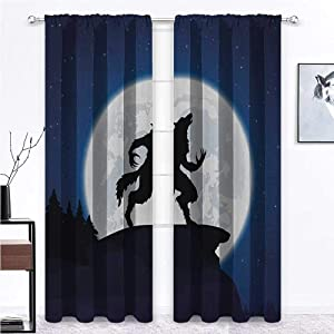 """shirlyhome Door Curtain Wolf Printed Drapes Full Moon Night Sky Growling Werewolf Mythical Creature in Woods Halloween 108"""" x 84"""" Dark Blue Black White 2 Panels"""