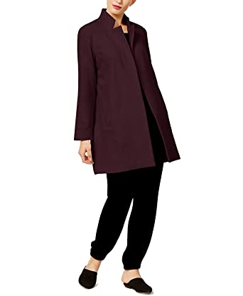 0deda9a7398 Image Unavailable. Image not available for. Color  Eileen Fisher Women s Wool  Blend Notch-Collar Long Coat ...