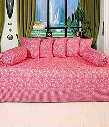 HomeStore-YEP Cotton Diwan Set of 8 Pcs - 1 Bedsheet, 5 Coushion Covers, 2 Bolster Covers