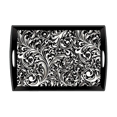 (Michel Design Works Decoupage Wooden Tray, Black Florentine, 20 by 13-3/4-Inch)