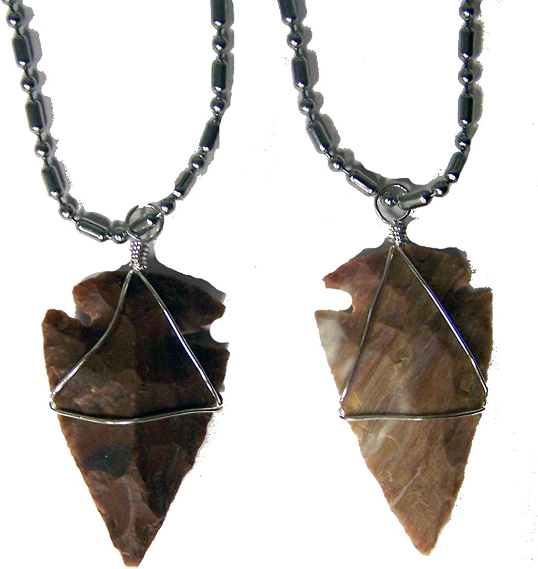 Hand Carved Red Tiger Eye Stone Arrowhead Pendant