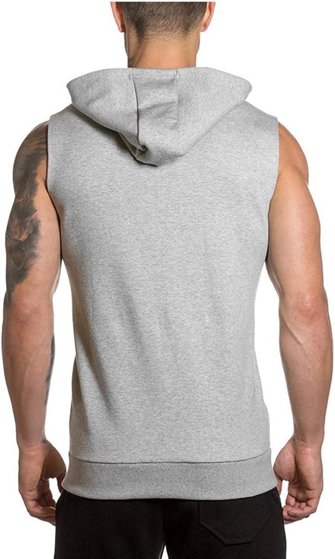 DOTBUY Homme D/ébardeur Capuche T-Shirt sans Manches Stretch Shirt Tank Top Muscle Bodybuilding Blouse Maillot de Corps Sport Fitness Jogging
