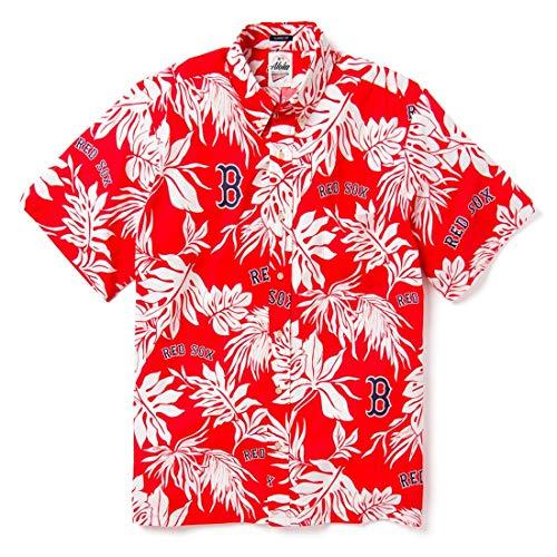 Red Boston Sox Shirt - Reyn Spooner Men's Boston Red Sox MLB Classic Fit Hawaiian Shirt, Scenic 2019, Large