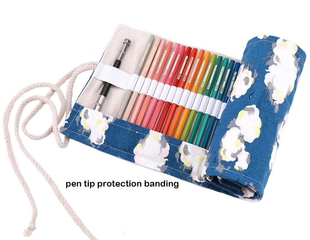 enveloppe de crayon porte-crayons pochettes rouleaux Amoyie trousse /à crayon enroulable pour 72 crayons de couleur sacs organiseurs de toile Constellation 72