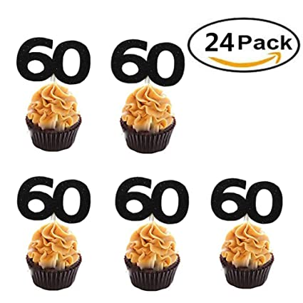 Set Of 24 Black Number 60 Cupcake Toppers 60th Birthday Celebrating Party Decors