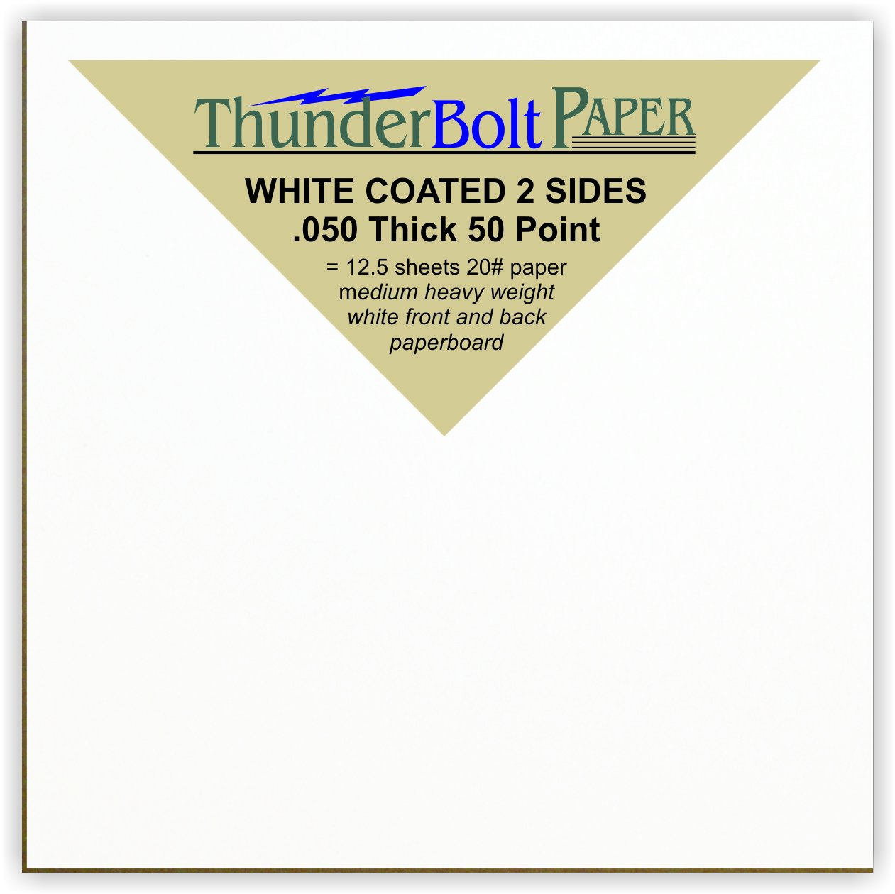 1200 Sheets Chipboard 50pt White 1 Side - 4'' X 4'' (4X4 Inches) Small Square Card Size - Medium Thick Weight PaperBoard .050 (Point) Caliper White Coated on One Side Cardboard Paper