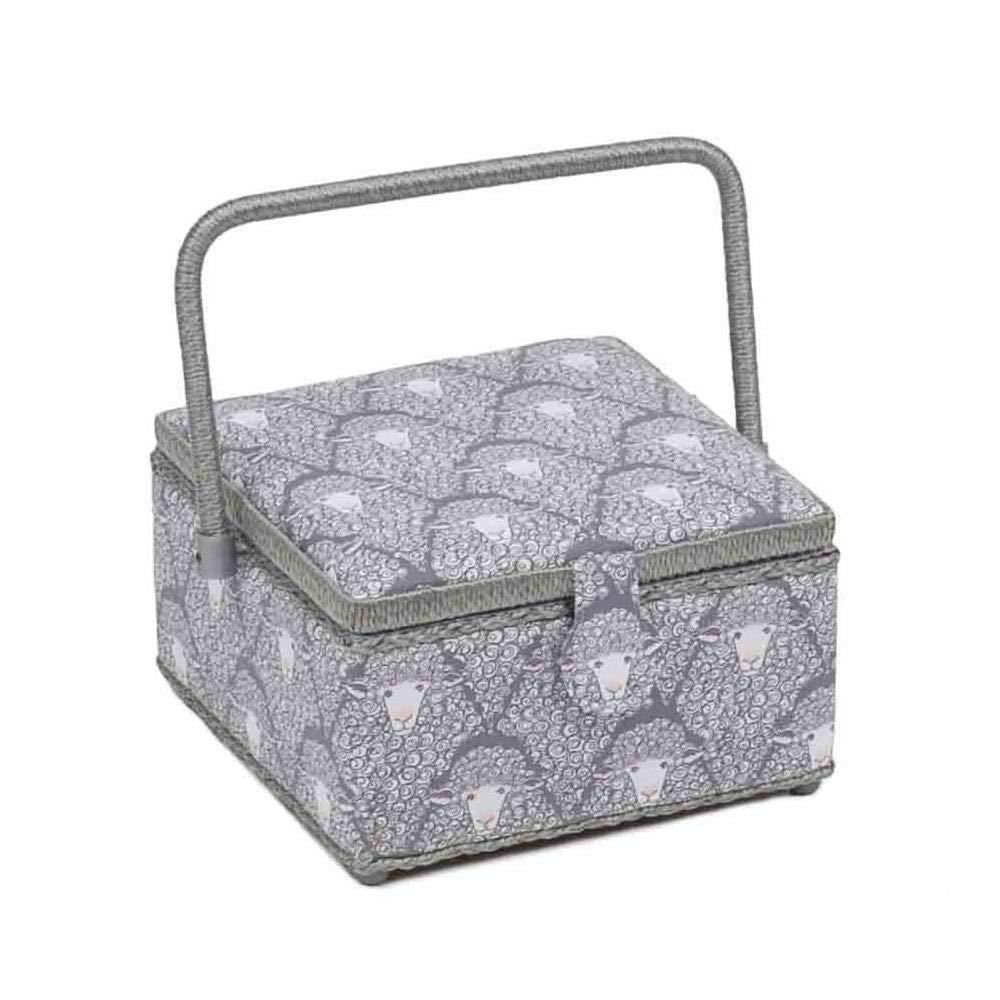 HobbyGift Classic Square Medium Sewing Box Grey Sheep