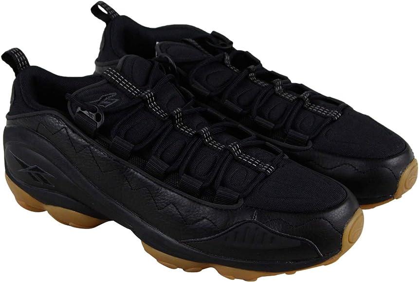 9e487c6d6339f DMX Run 10 Gum Mens Black Leather Low Top Lace Up Sneakers Shoes