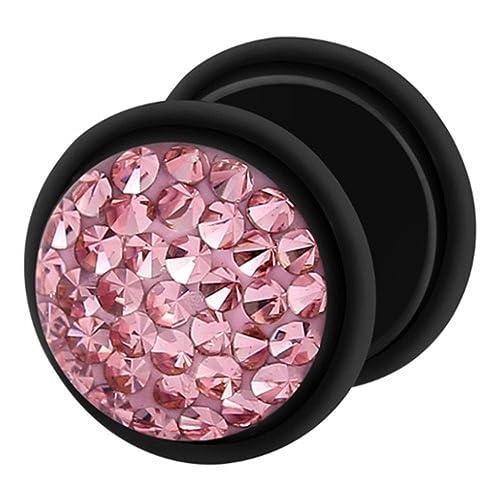Dilatador Falso Piercing Plug Negro, Pendiente, Multi Cristales Rosa Claro: Amazon.es: Joyería