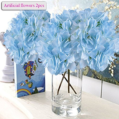 Flowers, Meiwo 2 Pcs Nearly Natural Fake Hydrangea Silk Flowers to Shine Your Wedding Scene Arrangement and Home Party Decor(Blue) (Colored Bud Vases)