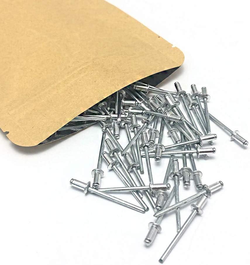 3.2 x 6mm Pop Rivets ISPINNER 100pcs 1//8 x 1//4 Aluminum Blind Rivets Pack of 100