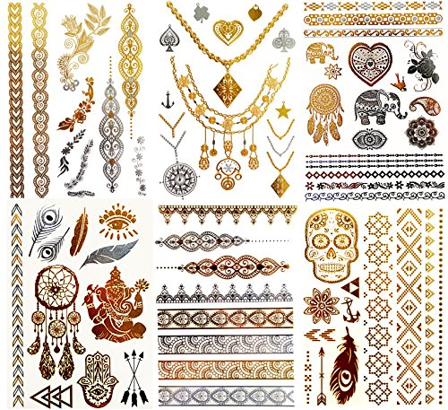 DK Premium Metallic Temporary Tattoos-  Waterproof Tattoo Stickers for Women Teens Girls, Temporary Fake Shimmer Jewelry Tattoo-100+ Color flash  Designs in Gold and Silver (Pack of 6 Sheets) (gold)]()
