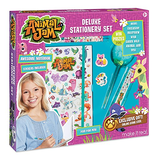 Make It Real - Animal Jam Stationery Set. Animal Jam Notebook and Sticker Set for Kids. Includes Animal Jam Notebook, Stickers, Pom Pom Pens, Ruler, Erasers, and Interview w/ Animal Jam Vet Gaby Wild