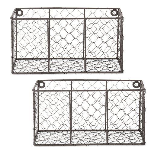 DII Z01929 Rustic Farmhouse Vintage Chicken Wire Wall Basket, Small (Set of 2), Bronze by DII (Image #6)