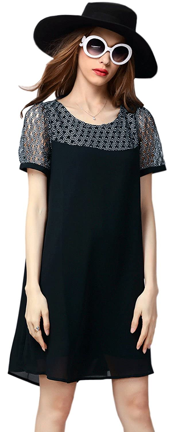 efd09794a6b Unomatch Women Special Occasion Wear A-Line Long Shirt and Blouse Black  (Large