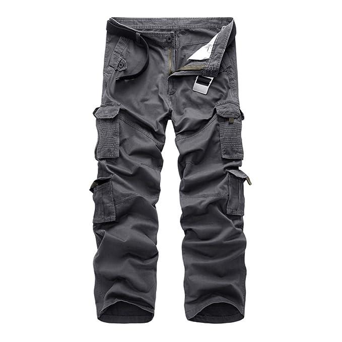 anerkannte Marken neu billig klassische Schuhe Rmine Herren Cargo Hose Viele Taschen Baumwolle Freizeithose Loose Fit  Arbeitshose (Ohne Gürtel)