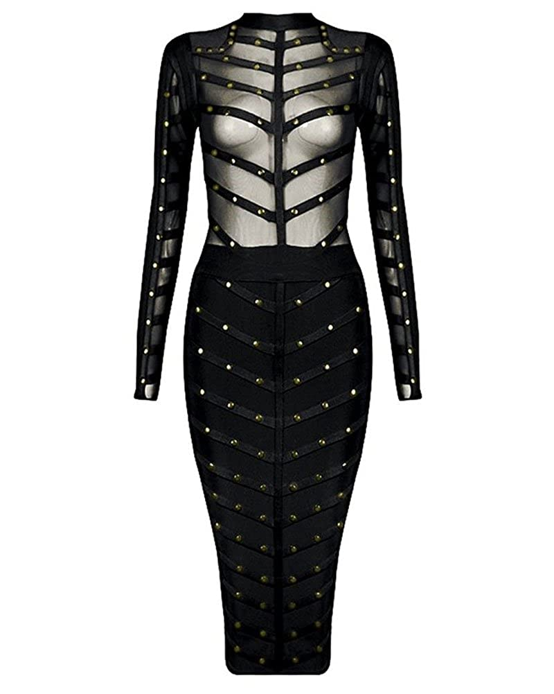 06eb522228a45 Whoinshop Women's Long Sleeve Studded Party Bandage Dress with Sheer Mesh