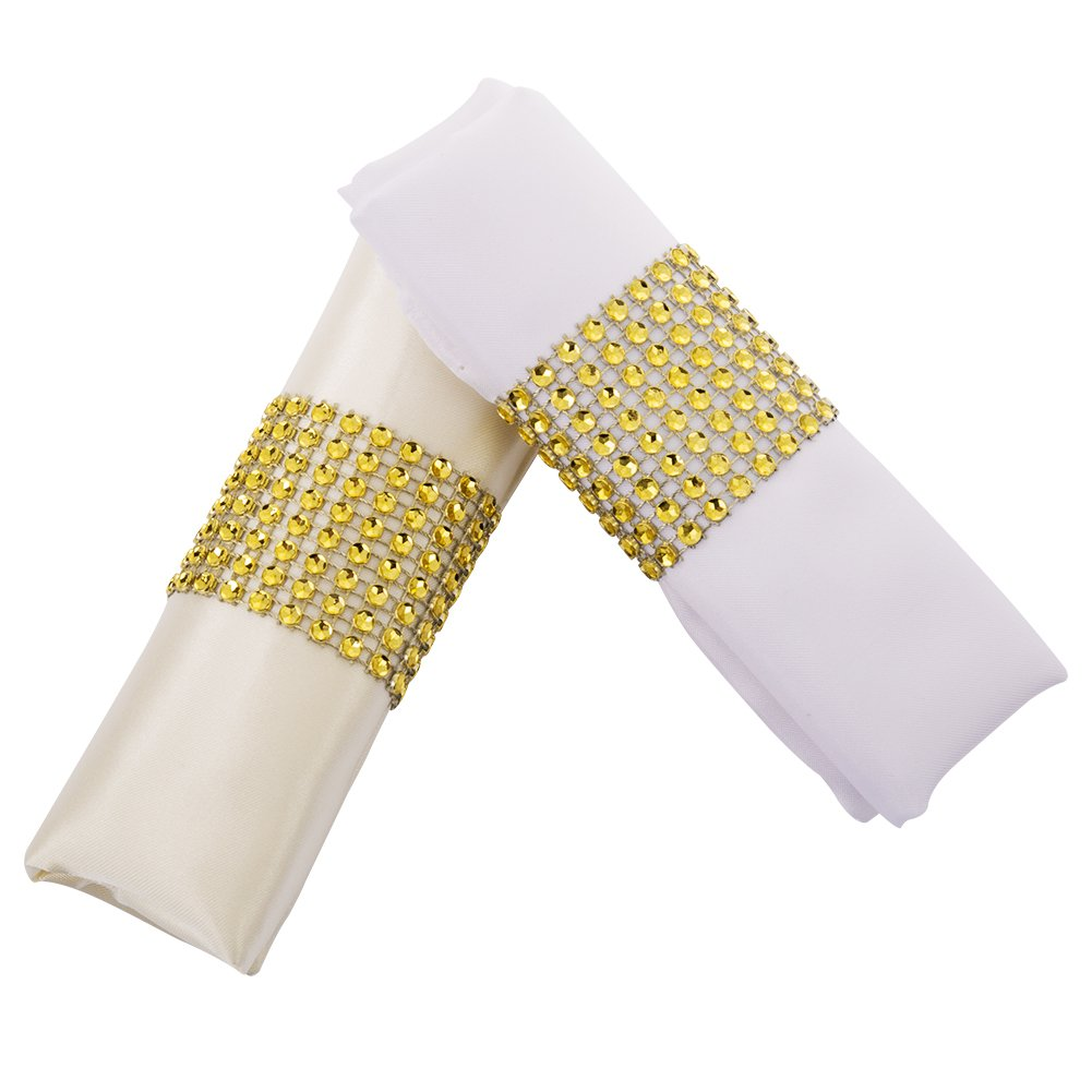 YumHome Napkin Rings Rhinestone Napkin Rings Adornment For Wedding Party (100 PCS, Gold)