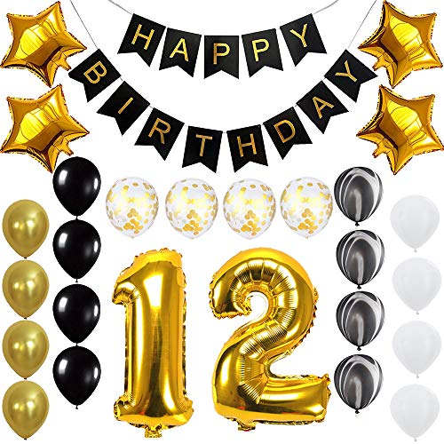 Happy 12th Birthday Banner Balloons Set for 12 Years Old Birthday Party Decoration Supplies Gold -