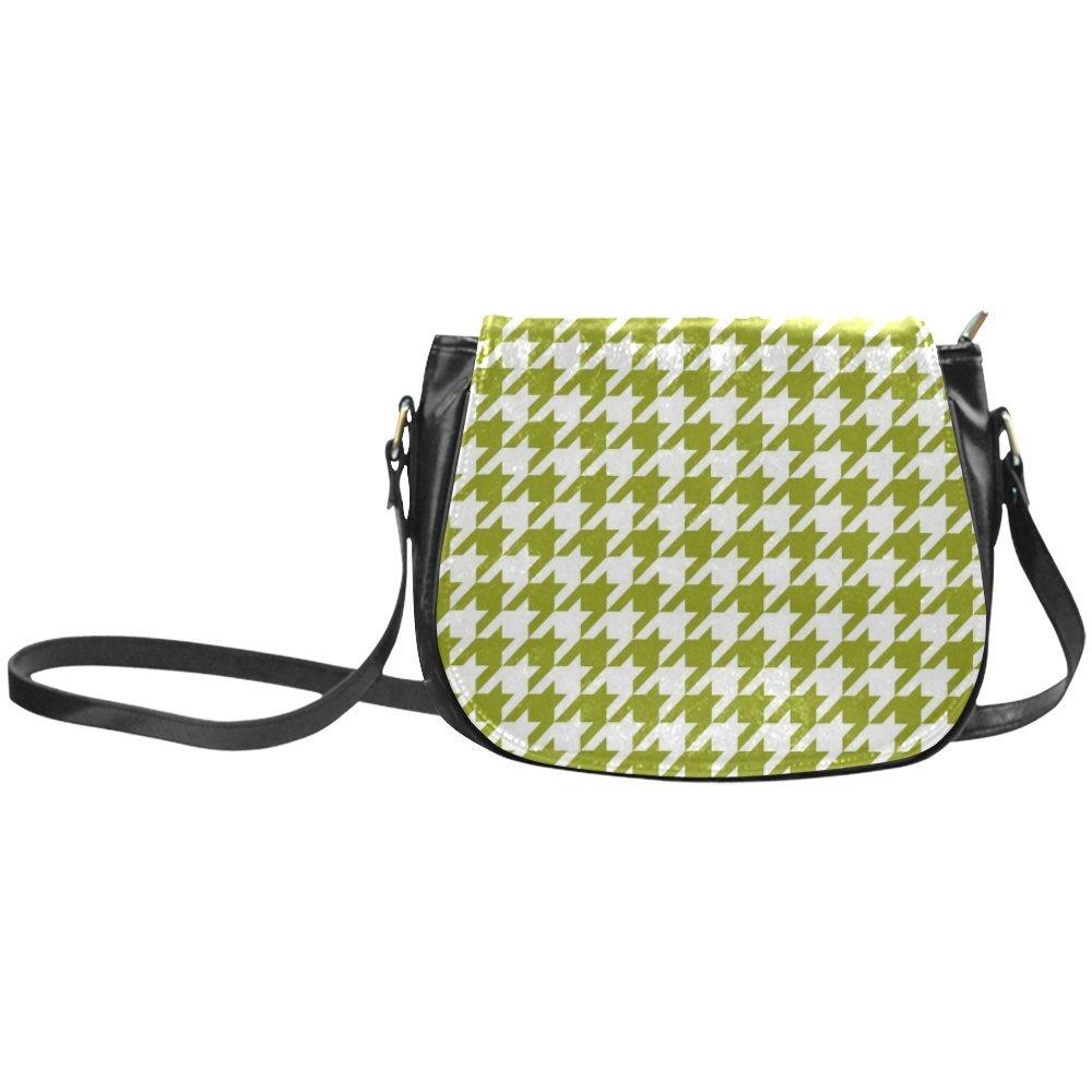 Fashion Women And Girls Colorful Houndstooth Green Classic Saddle Bag/Shoulder Bag/Handbag SD-232