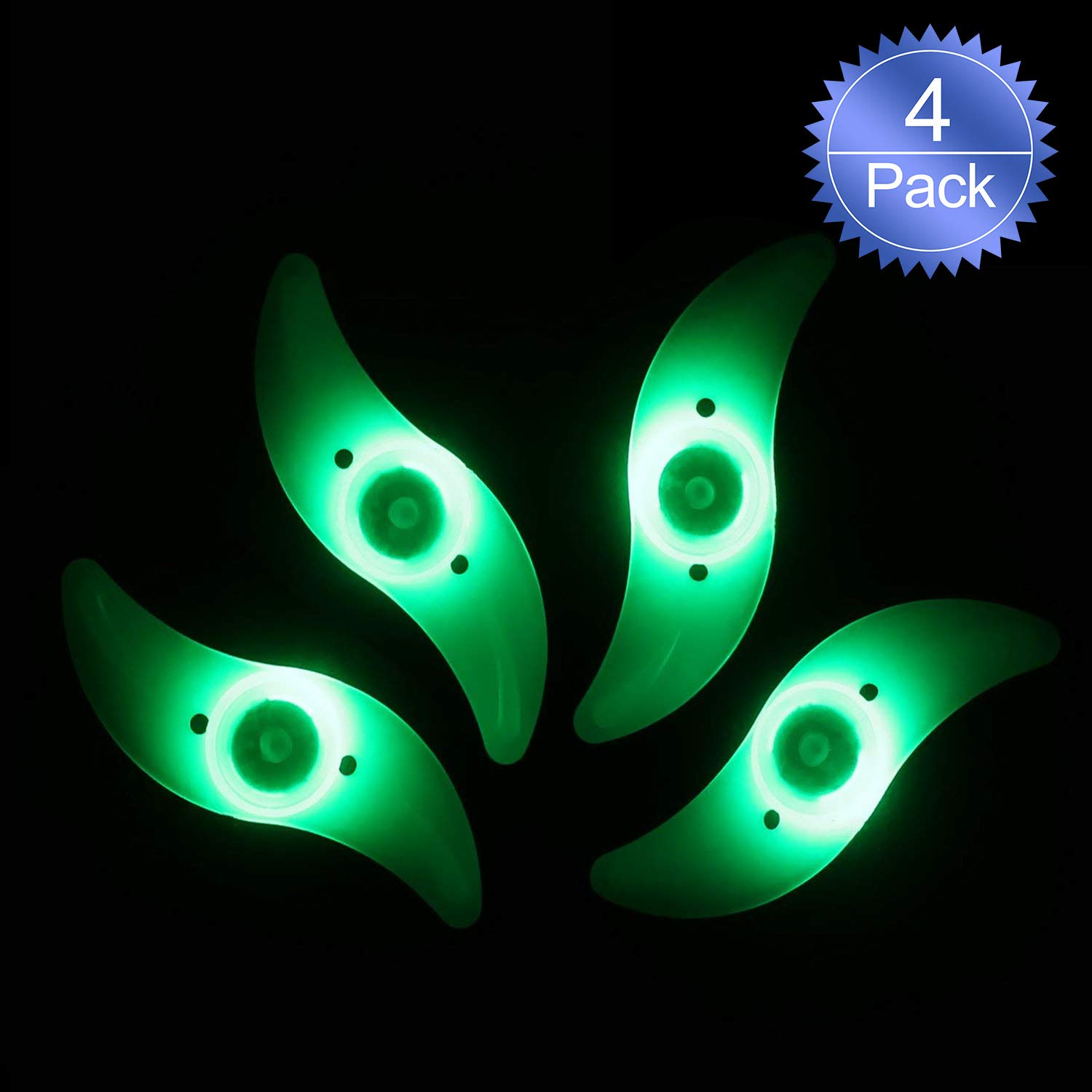 Oumers 4pcs Bike Spoke Light, Waterproof Bike Wheel Rim Light Cycling Tire Valve Spoke Light with 3 LED Flash Modes Neon Lamps Used for Safe and Warning (Green)