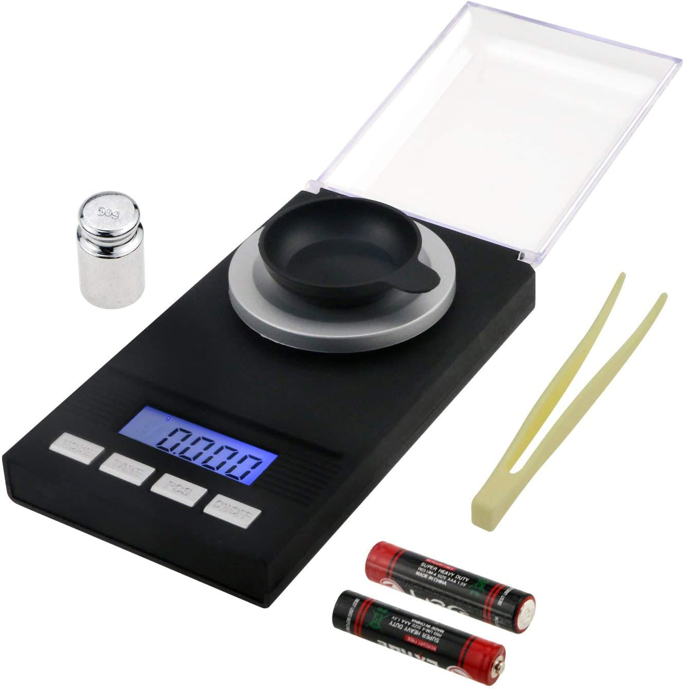 Philonext Digital Milligram Scale 50 X 0.001g - Mini LCD Digital Pocket Lab Weight Scale Reloading Jewelry Scale with Calibration Weights Tweezers and Weighing Pans