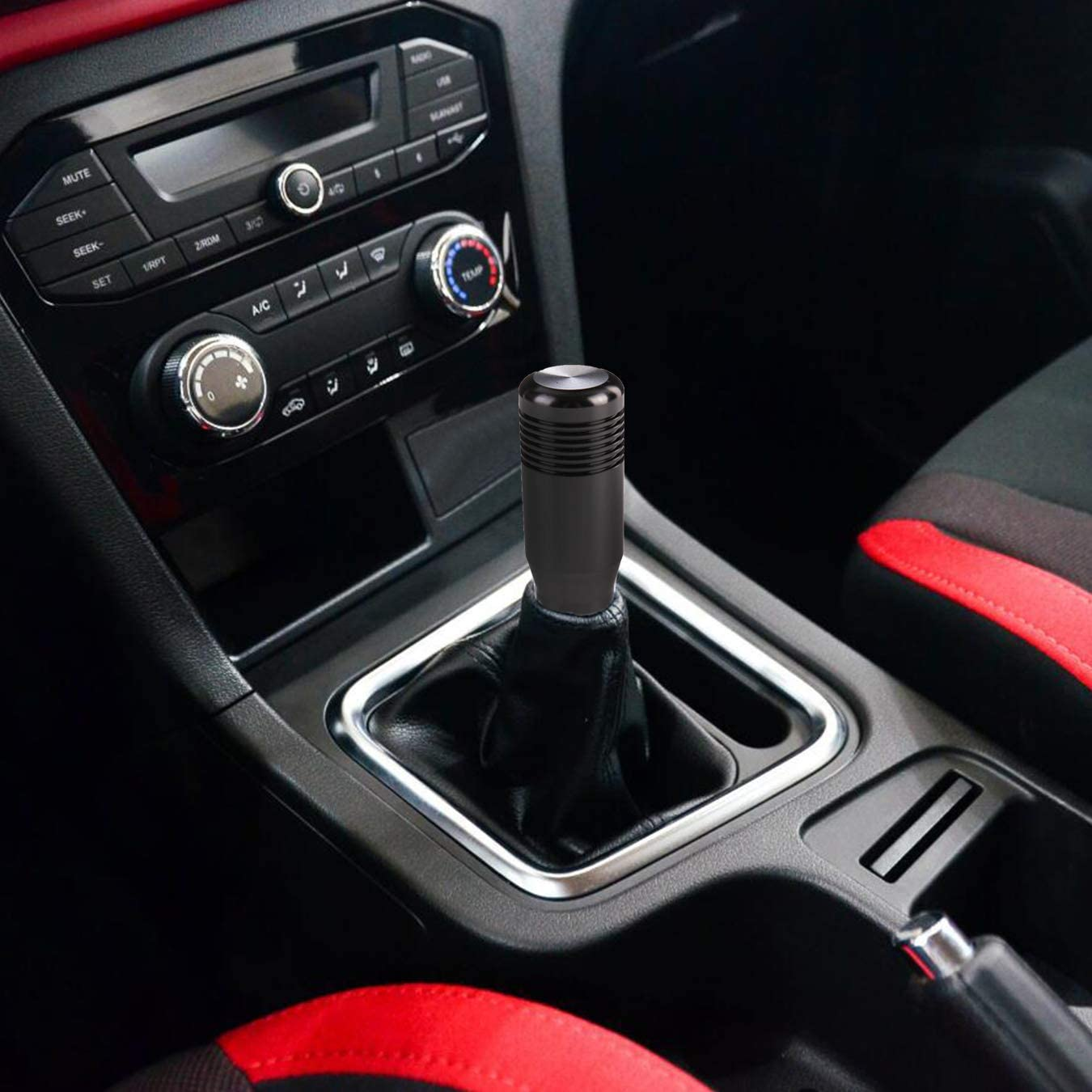 Arenbel Shift Knob Short Gear Stick Shifting Shifter Car Lever Head of Aluminum Alloy fit Most Universal Manual Automatic Vehicle Red