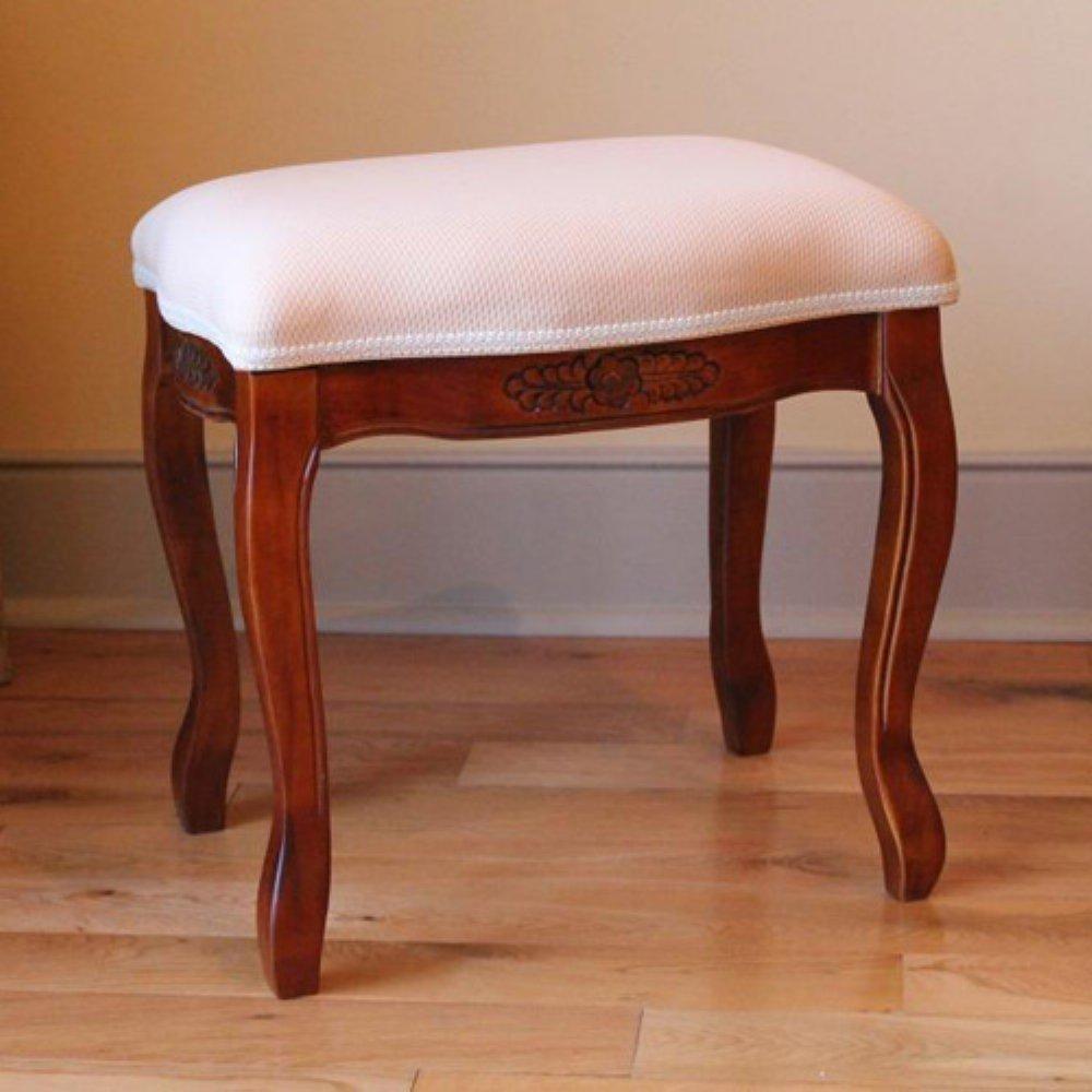 International Caravan 3863-IC Furniture Piece Wood Stool with Cushioned Top