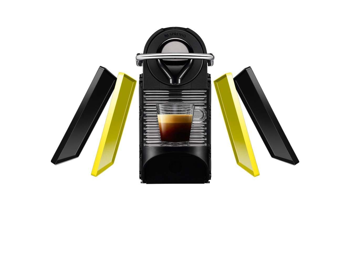 bandeja extra/íble 2 programas de caf/é color amarillo y negro Cafetera de c/ápsulas de 19 bares indicador luminoso de dep/ósito vac/ío y funci/ón de autoapagado Krups Nespresso Pixie Clips XN3020