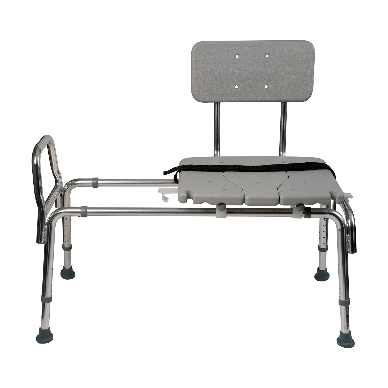 Duro-Med Heavy-Duty Sliding Transfer Bench Shower Chair with Cut-out Seat and Adjustable Legs, Gray