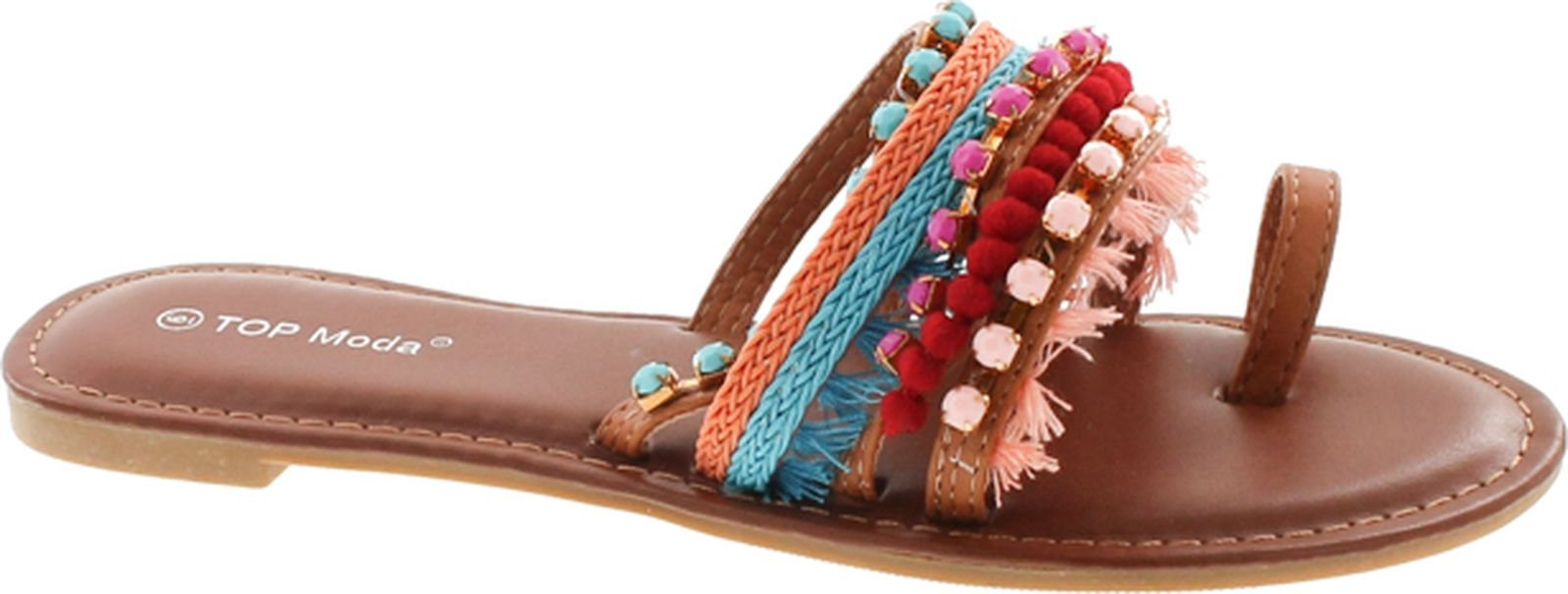 Top Moda Women's Flat Bohemian Tribal Style Sandal with Fringe and Faux Stones,Tan,7