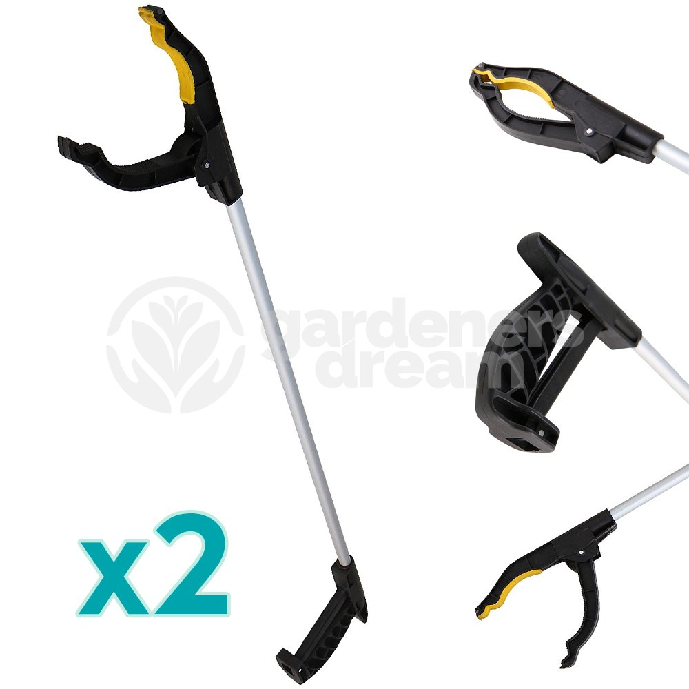 2 X GardenersDream 76cm Litter Picker Rubbish Debris Long Handy Mobility Aid - Reaching Assist Tool for Trash Pick Up, Litter Picker, Garden Nabber, Disabled, Arm Extension