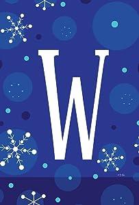Toland Home Garden Winter Snowflakes Monogram W 12.5 X 18 Inch Decorative Snow Initial Garden Flag